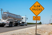 Truck going fast on the road with speed limit. See my other photos & videos from USA:
