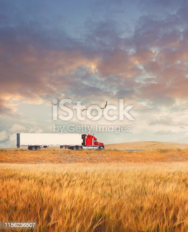Truck on the road in countryside