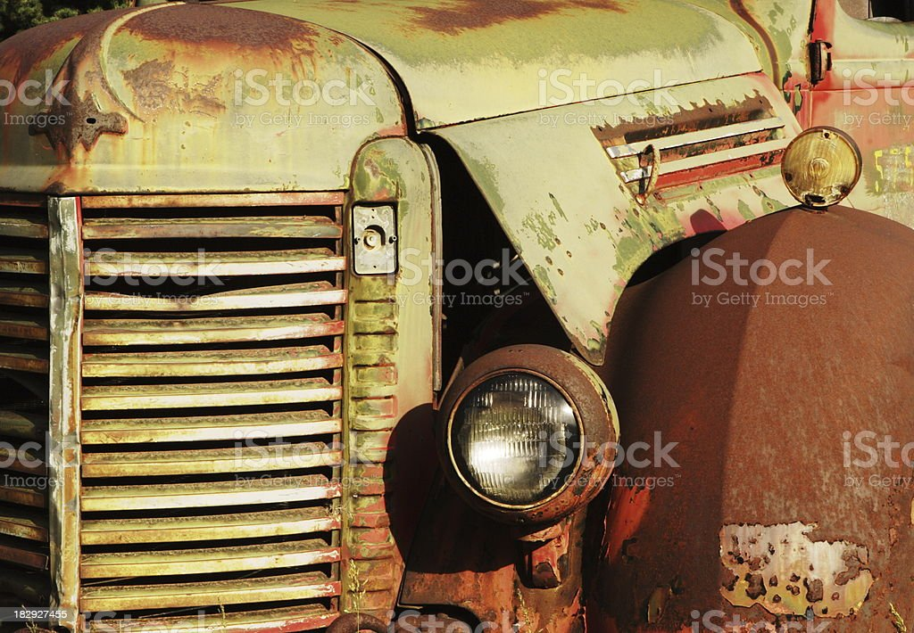 Truck Grille Fender Rust Antique Car stock photo