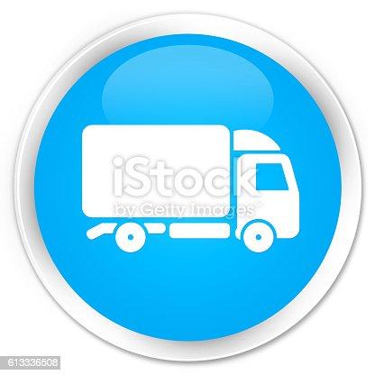 510998733istockphoto Truck icon cyan blue glossy round button 613336508