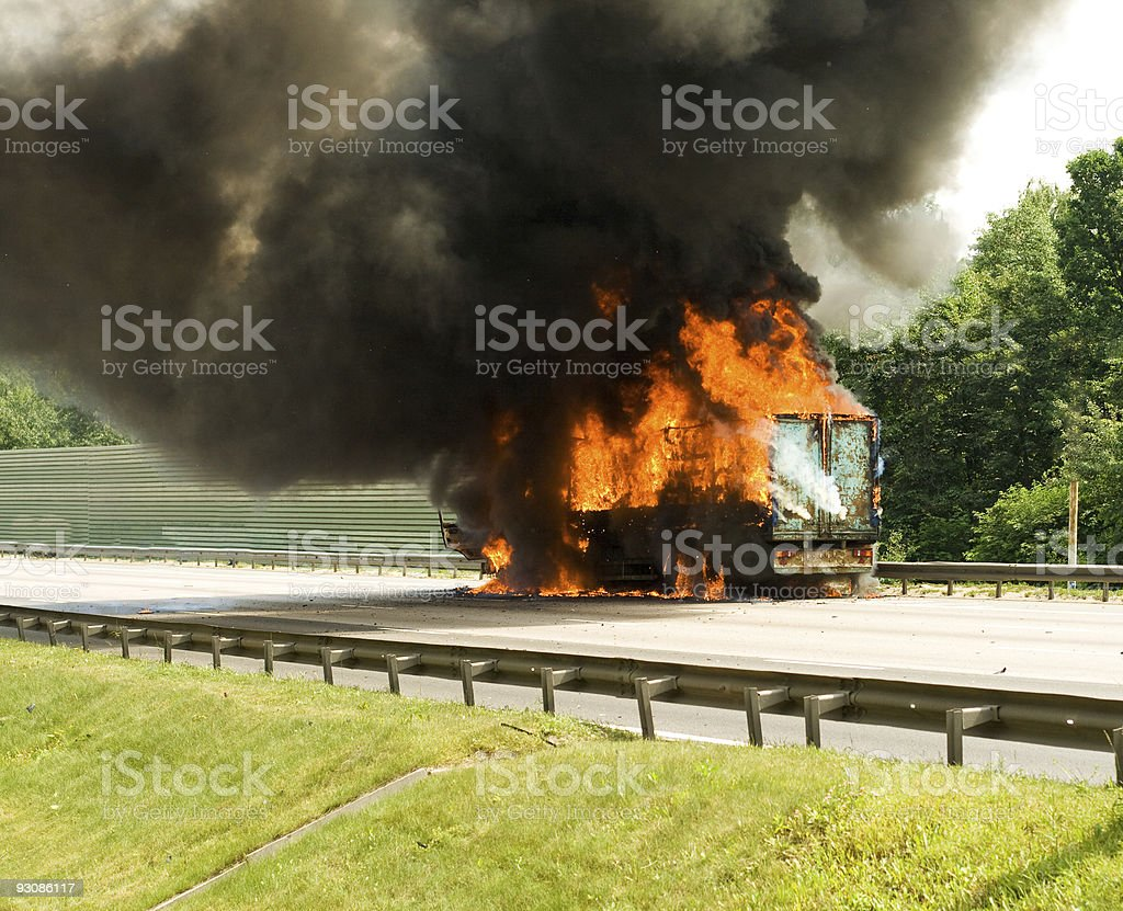truck in fire stock photo