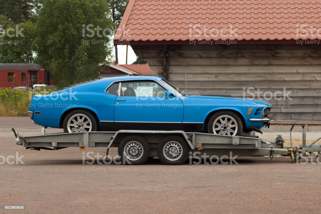 Truck in old car assistance. stock photo