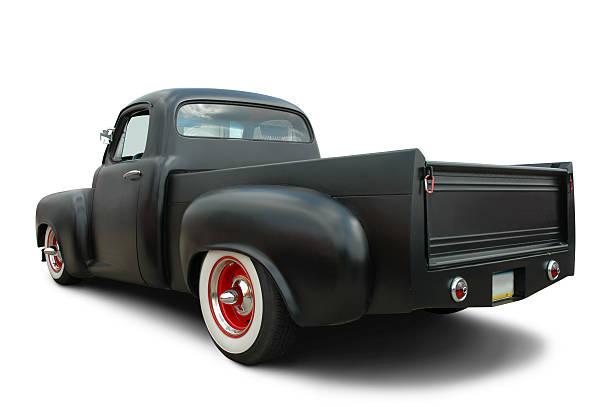 truck in satin schwarz - alte wagen stock-fotos und bilder