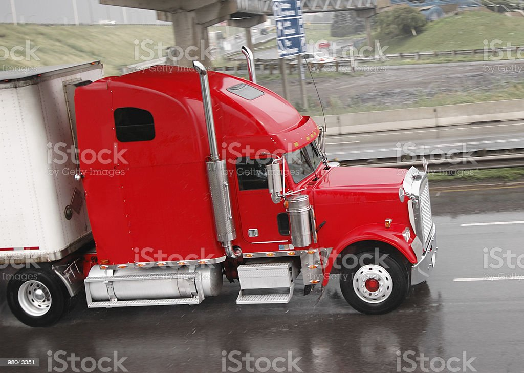 Truck in the rain royalty-free stock photo