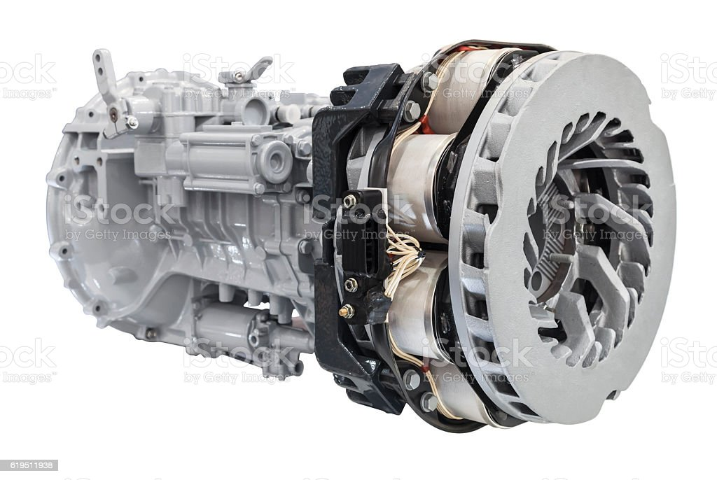 Truck induction brakes system stock photo