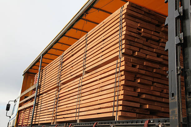 Truck loaded with beech boards stock photo