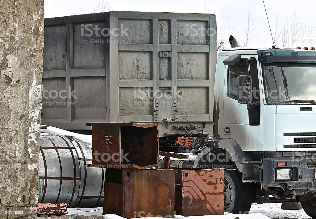truck loaded with metal structures stock photo