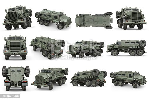 istock Truck military army transport set 834672056