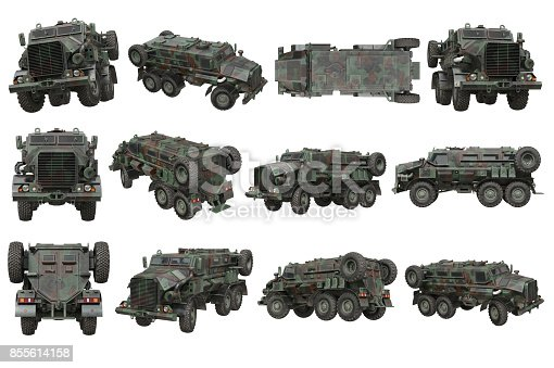 istock Truck military army transport set 855614158