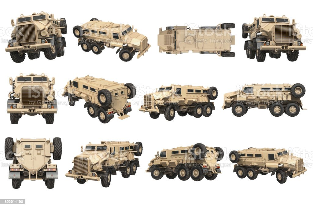 Truck military army transport set stock photo