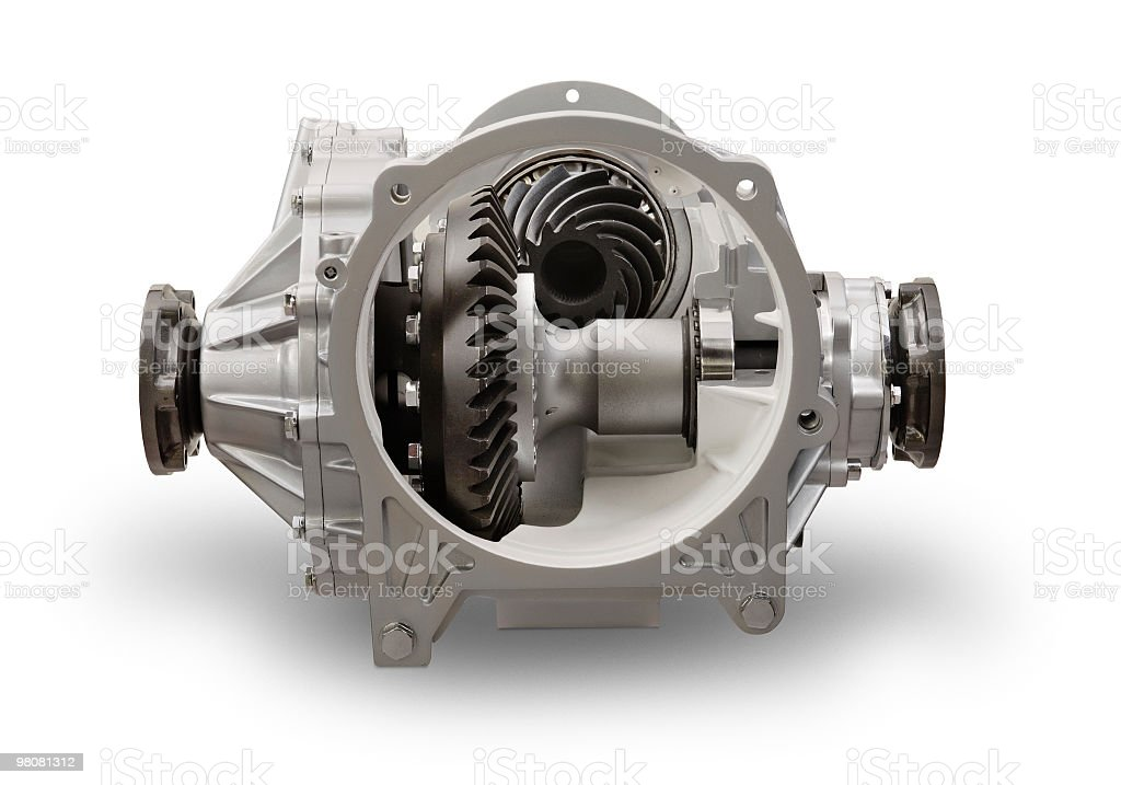 Truck motor differential, front view of a sectioned part royalty-free stock photo