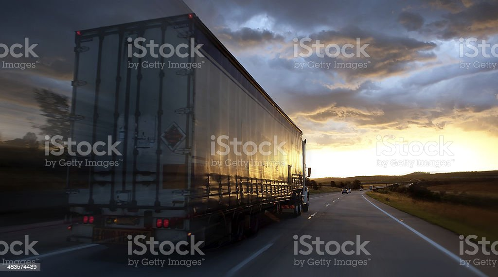 Truck on a highway royalty-free stock photo