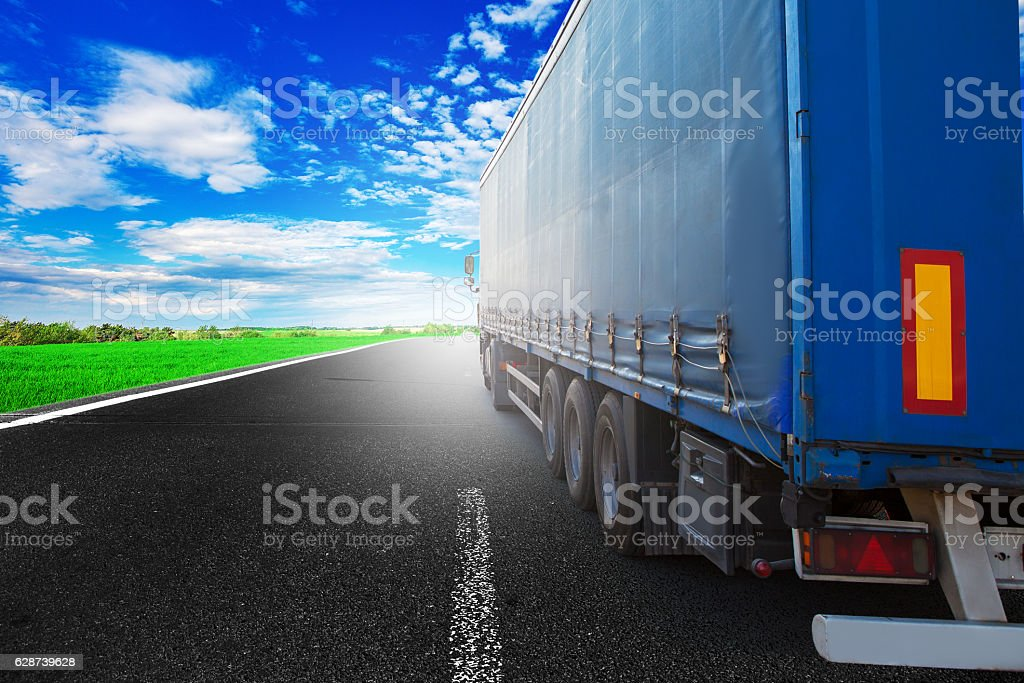 truck on a highway stock photo