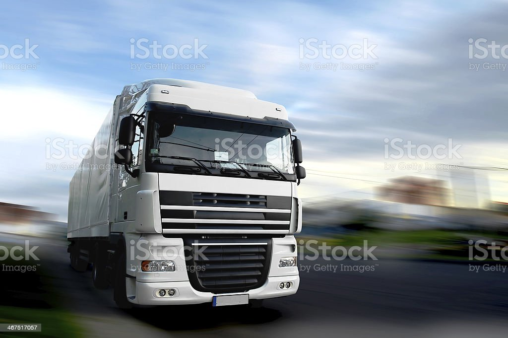 truck on a road stock photo