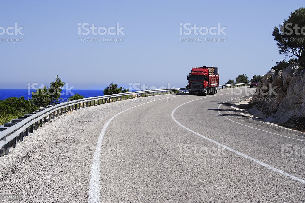 truck on a road royalty-free stock photo