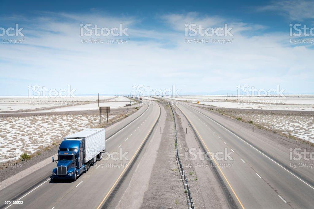 Truck on American Hightway Bonneville Salt Flats Utah stock photo