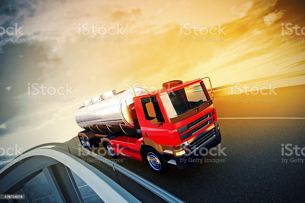 truck on asphalt road highway stock photo