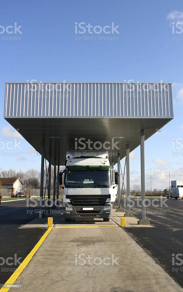 Truck on customs stock photo