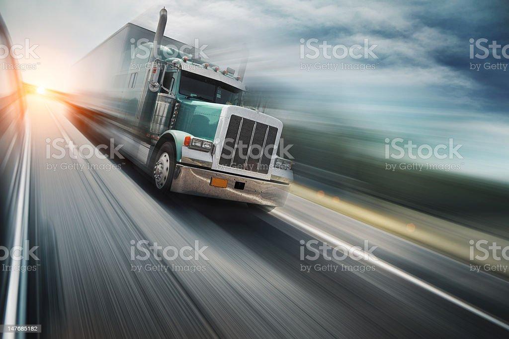 Truck on freeway royalty-free stock photo
