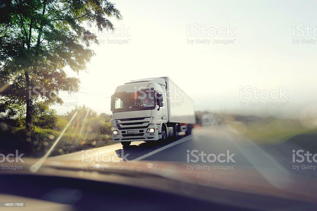 Truck on freeway stock photo