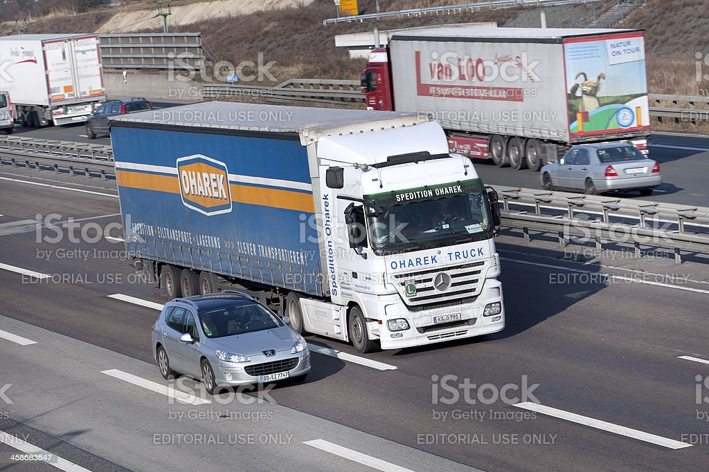 Truck on german Autobahn royalty-free stock photo