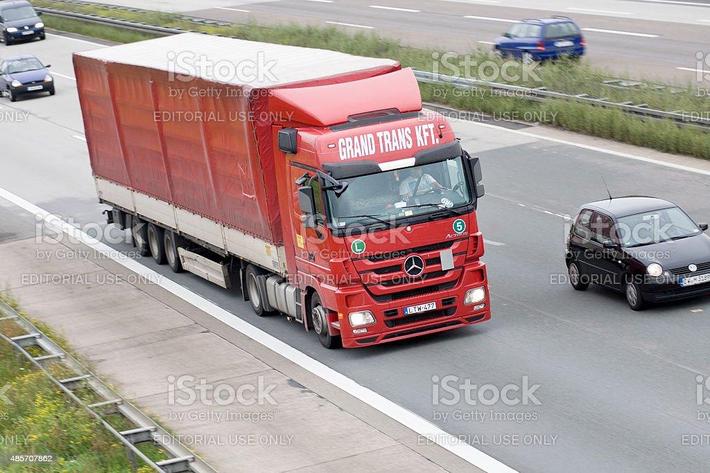 Truck on german Autobahn stock photo