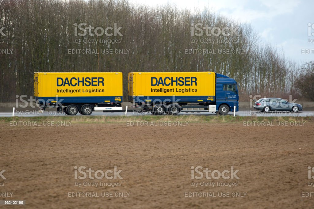Truck on German highway A3 stock photo