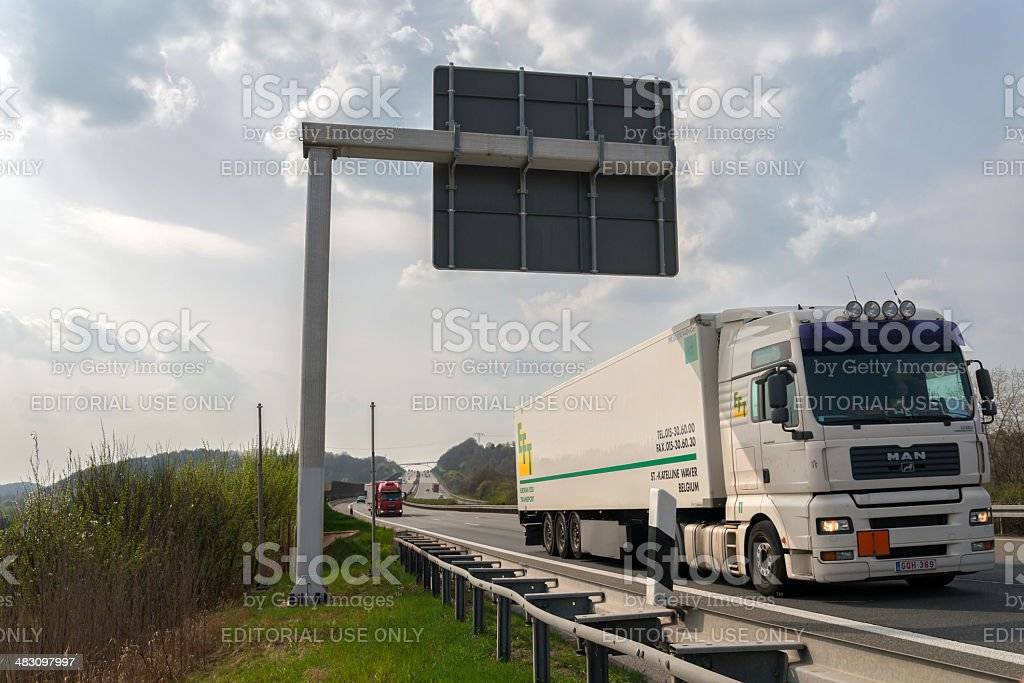Truck on german highway royalty-free stock photo