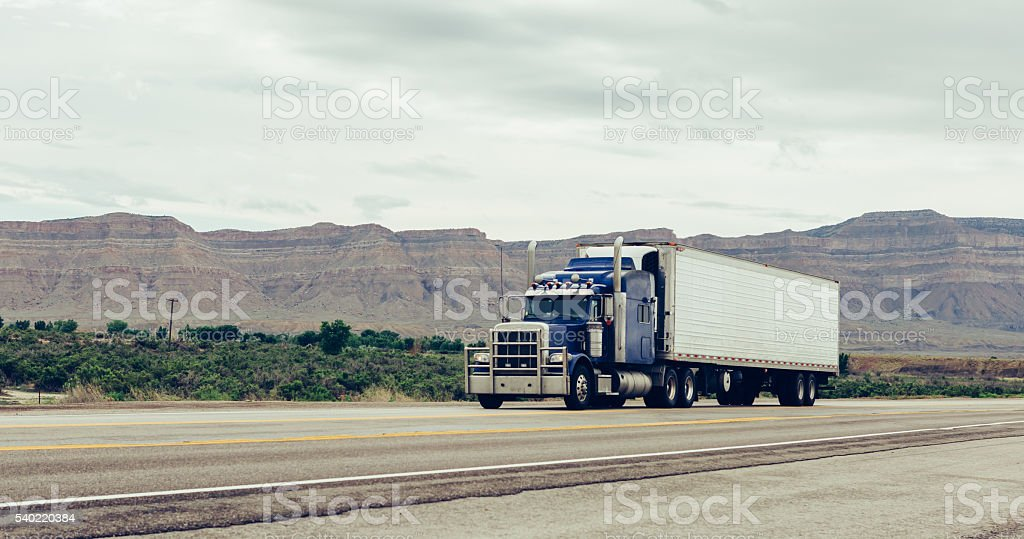 Truck on highway. stock photo