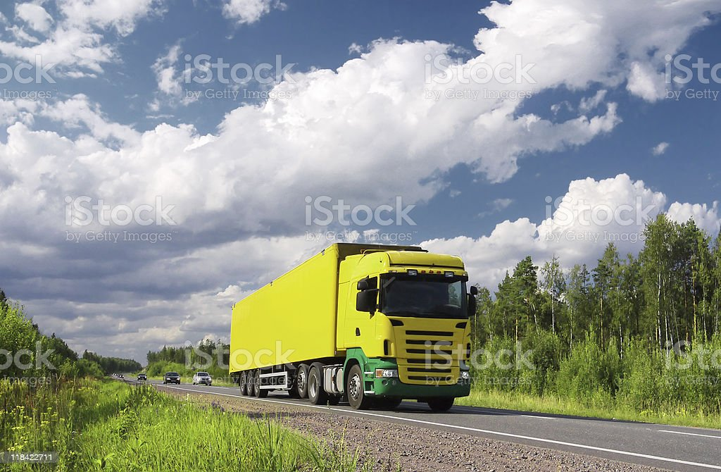 truck on pictorial highway stock photo