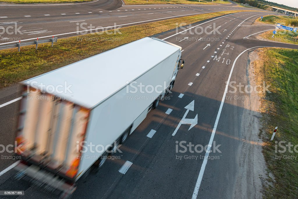 Truck on road stock photo