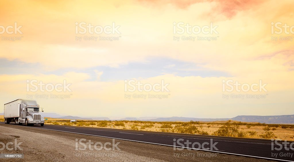 Truck on Route 66, California stock photo