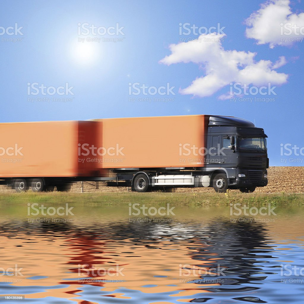truck on the asphalt royalty-free stock photo