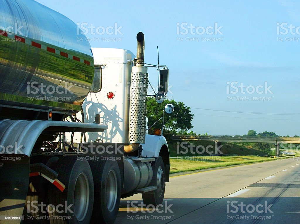 truck on the open road stock photo