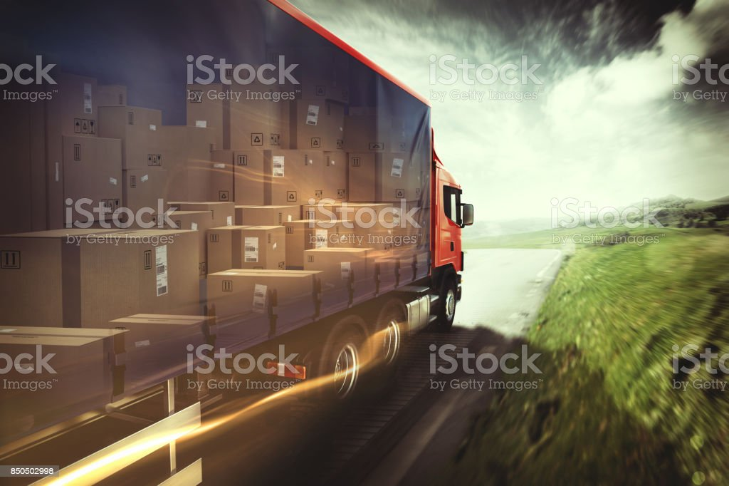 Truck on the road. 3D Rendering stock photo