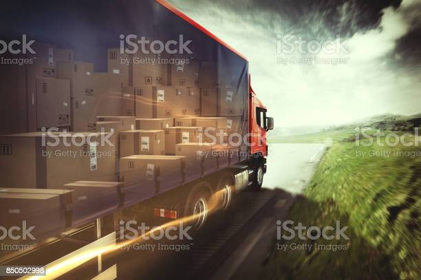 Truck On The Road 3d Rendering Stock Photo - Download Image Now