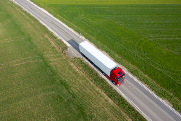 Truck on the Road, Aerial View stock photo