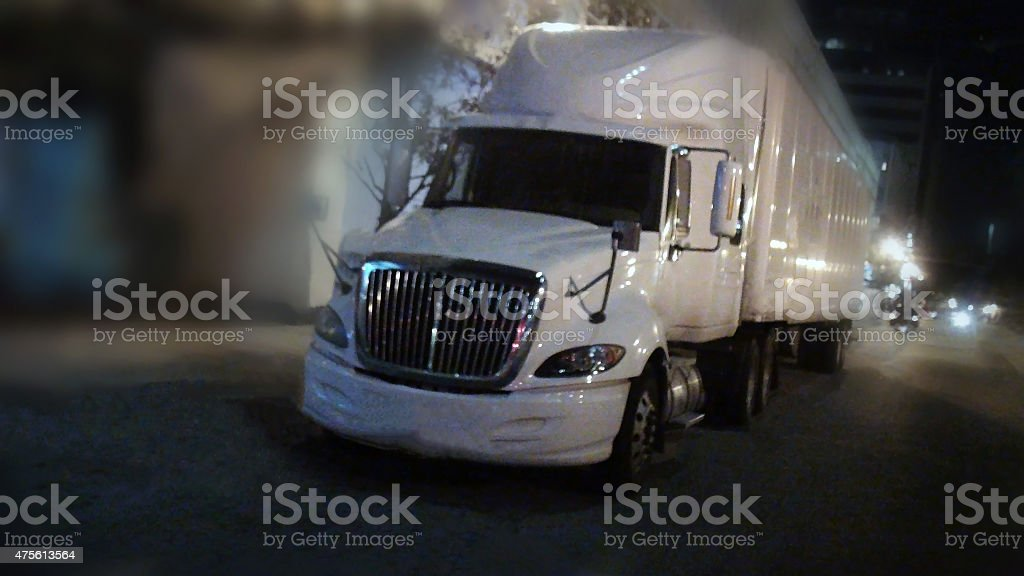 Truck On The Road In The Evening stock photo