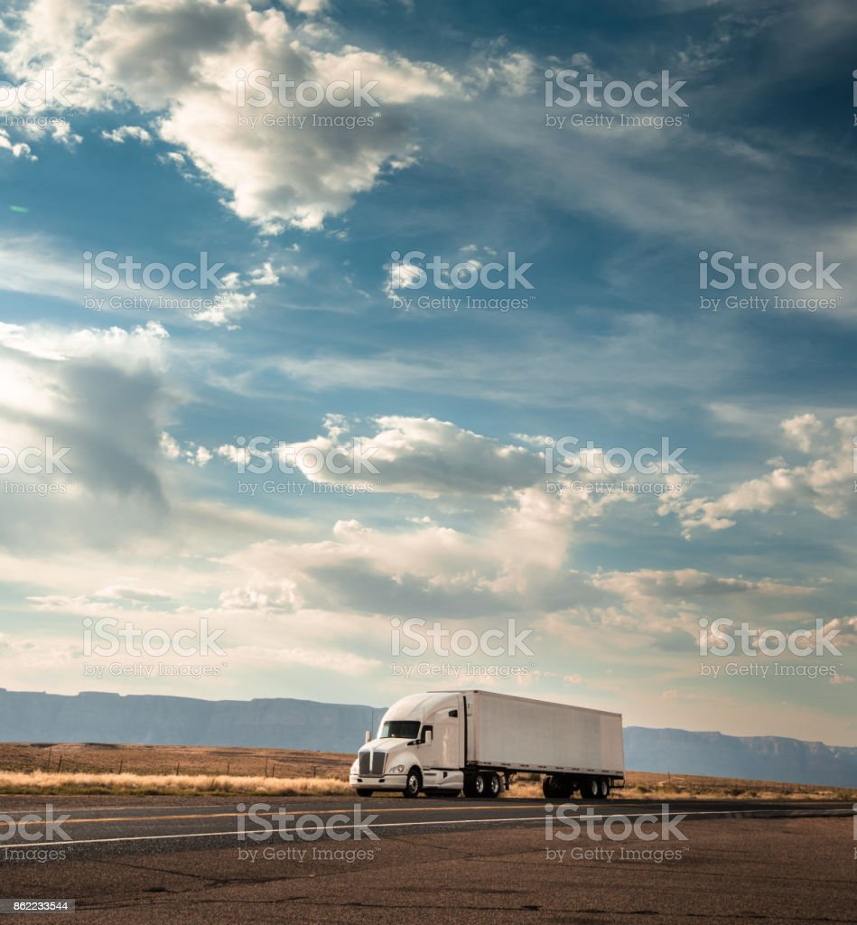 truck on the road on the route 66 stock photo