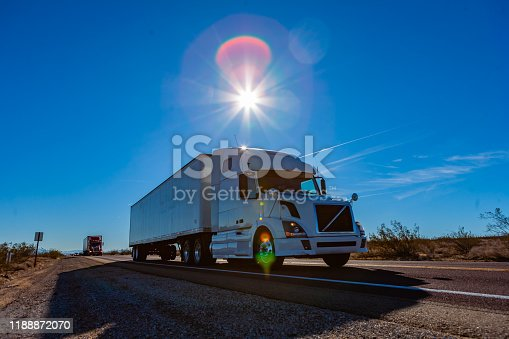 A truck on the roads of California in the Mojave desert