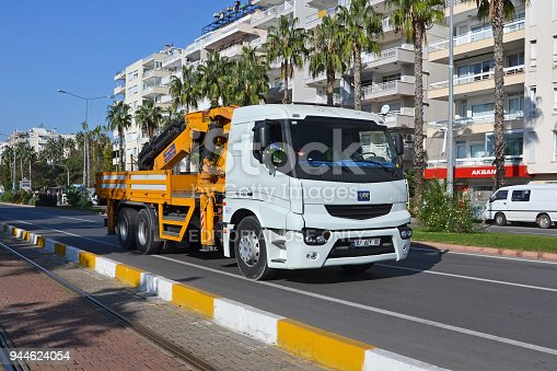 Antalya, Turkey - 15th November, 2012: BMC PRO 625 truck driving on the street. Today BMC is one of the largest bus and truck producers in Turkey.