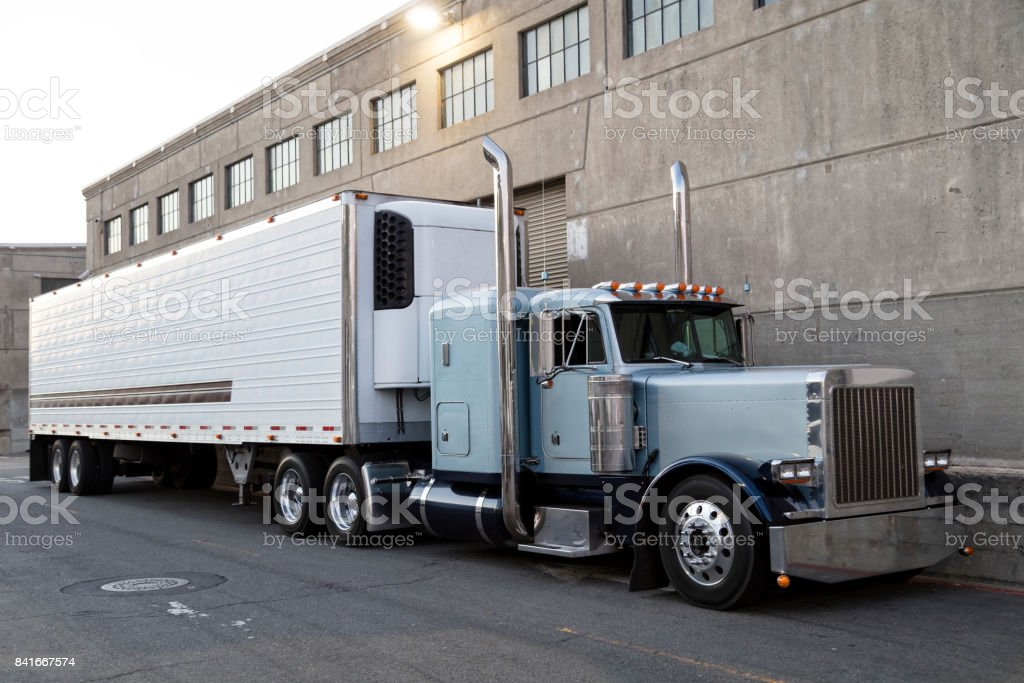 Truck Outside Warehouse, California, USA stock photo