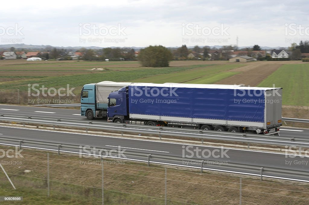 Truck overtaking royalty-free stock photo