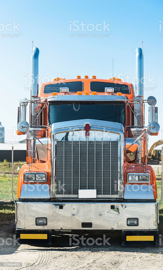 truck parked in a row stock photo