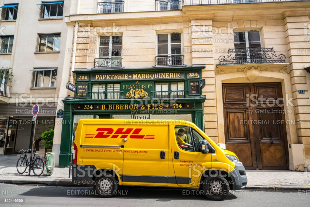 DHL Truck parked on Paris street, France