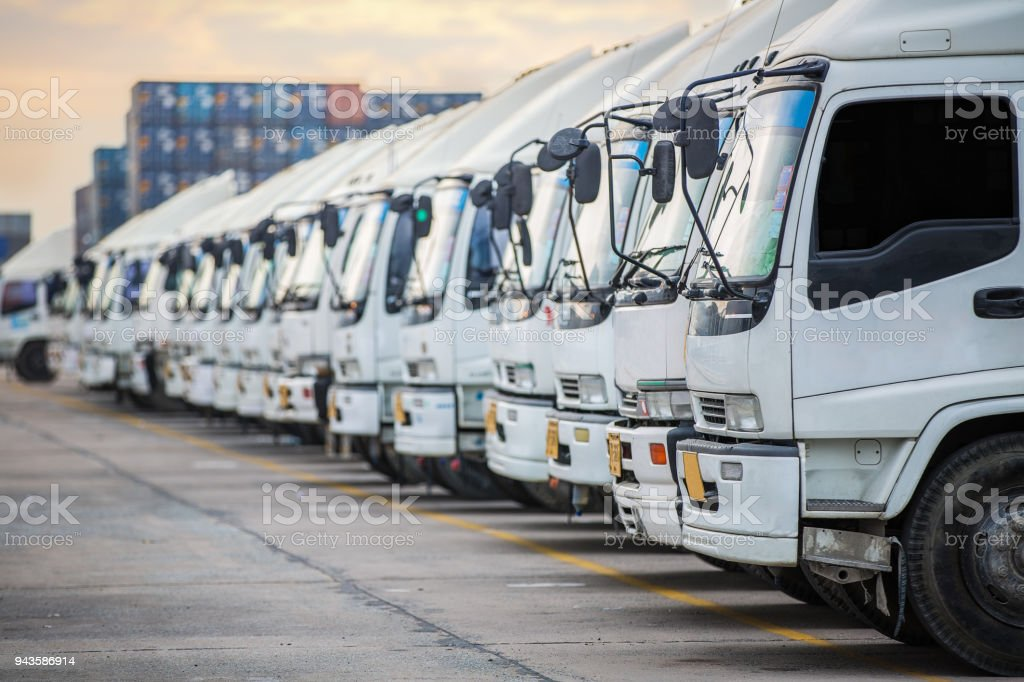 Truck parking this immage canuse for delivery stock photo