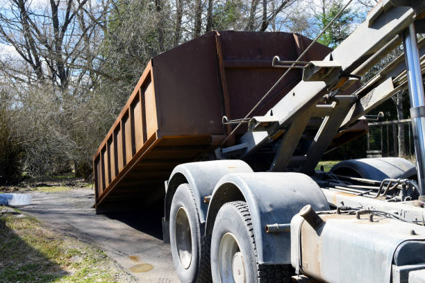truck roll-off dumpster - garbage bin stock photos and pictures