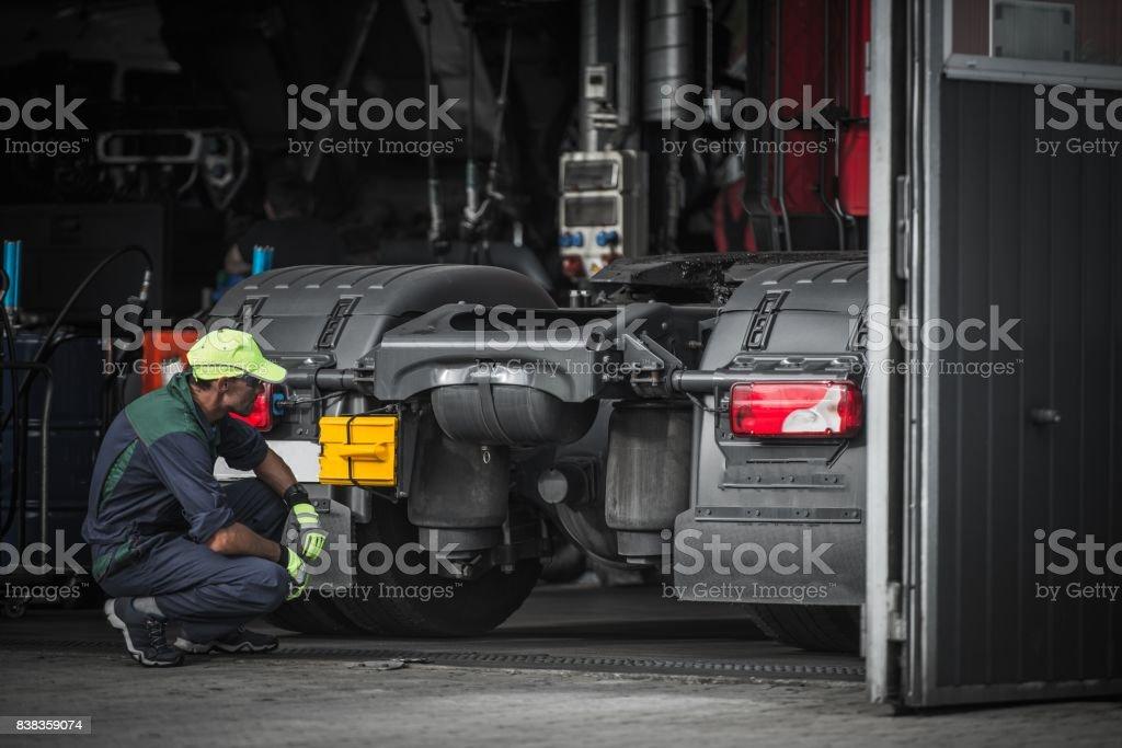 Truck Service Technician Job stock photo