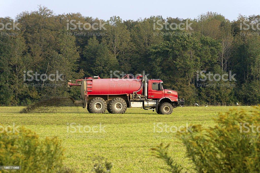 Truck Spreading Liquid Manure royalty-free stock photo
