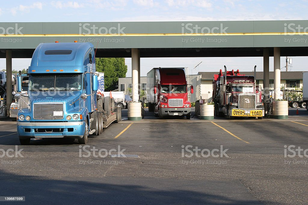 Truck Stop Fueling stock photo